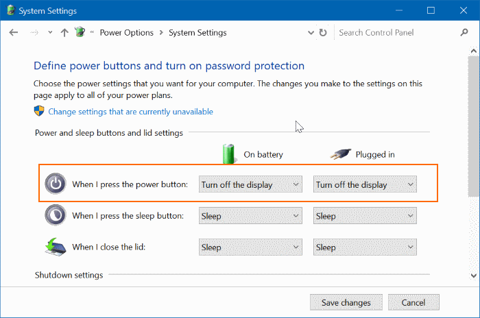 use power button to turn off laptop screen in Windows 10 pic3