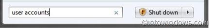 cuentas de usuario en el cuadro de búsqueda del menú de inicio