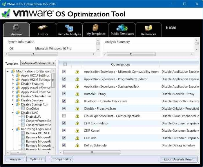 vmware os optimization tool for Windows 10 pic3