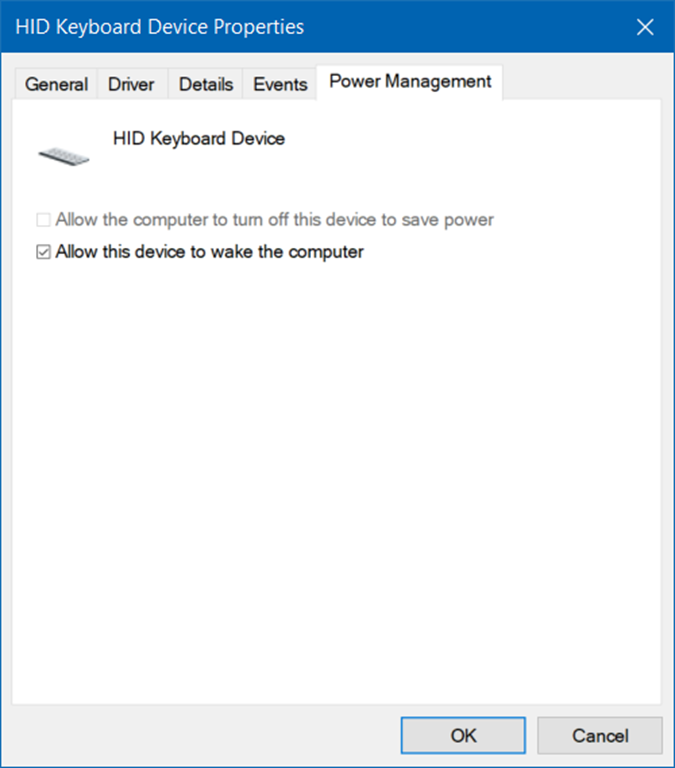 wake PC from sleep using keyboard and mouse in Windows 10 pic1