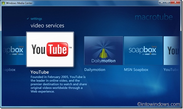 ver youtube, dailymotion video in media center