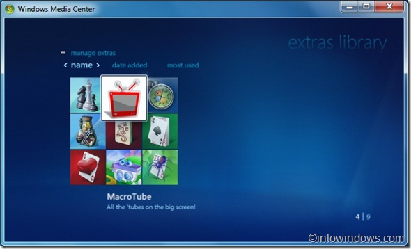 ver youtube, dailymotion video in windows 7 media center