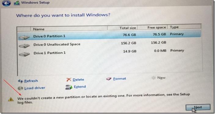 no pudimos crear un nuevo error de partición Windows 10