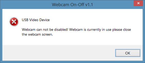 webcam can not be disabled error