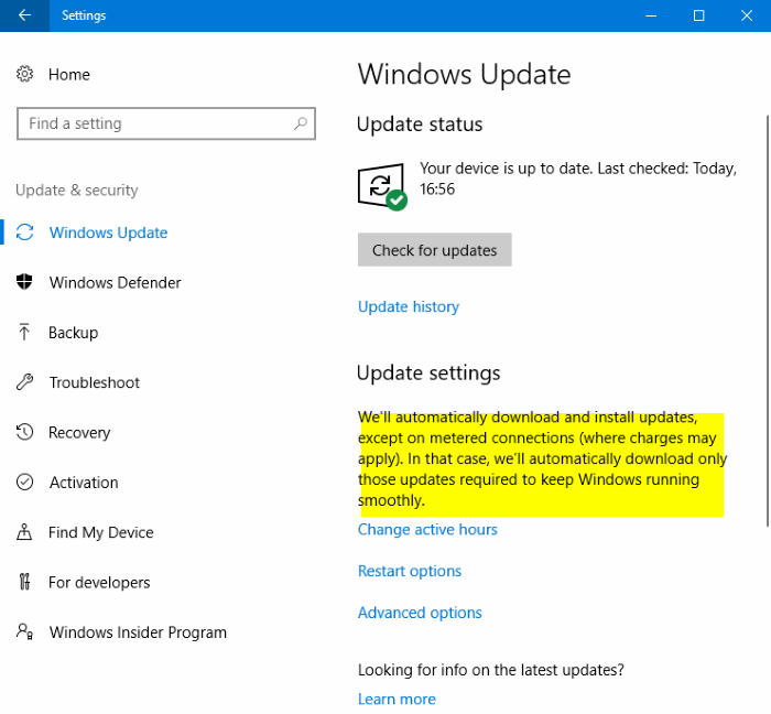 windows 10 downloading updates on metered connections