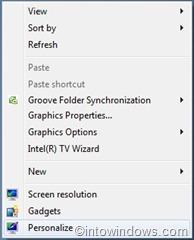 windows 7 right click