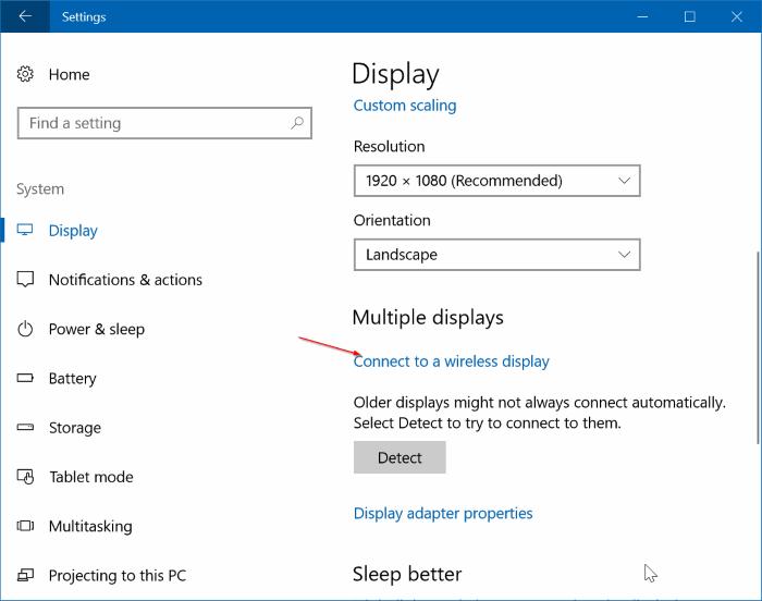 conexión inalámbrica del equipo portátil de Windows 10 a TV pic1