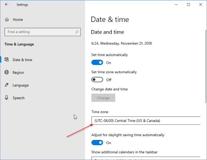 fecha y hora incorrectas en Windows 10 pic1