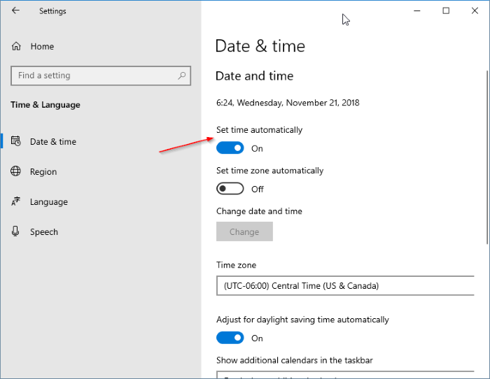 fecha y hora incorrectas en Windows 10 pic2