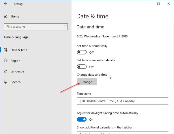 fecha y hora incorrectas en Windows 10 pic3