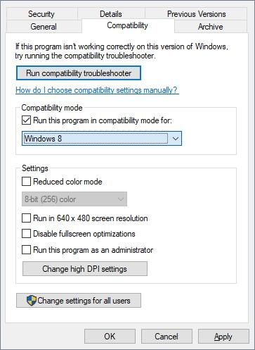 ejec tar este programa en modo de compatibilidad para Windows 8